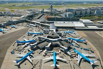 Schiphol vliegveld vliegtuigen